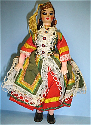 Plastic Doll With Handpainted Cloth Covered Head