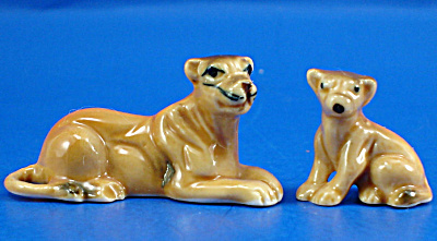 Miniature Bone China Lioness And Lion Cub