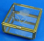 Click here to enlarge image and see more about item a01089m: Miniature Glass Trinket Box, Flower Design