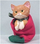 Click here to enlarge image and see more about item a02593: Resin Kitten in Christmas Stocking