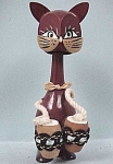 Click here to enlarge image and see more about item a02612: Wood Cat Nodder Playing the Bongos