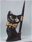 Click here to enlarge image and see more about item a02626: 1950s Black Cat Pen Holder