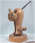 Click here to enlarge image and see more about item a02644: Japan Wood Cat & Mouse Hors D'oeuvre