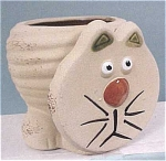 Click here to enlarge image and see more about item a02767: Tan Pottery Cat Planter