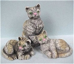 Click here to enlarge image and see more about item a02775: Resin Grey Cat Trio