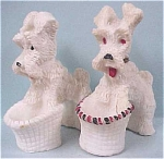 Click here to enlarge image and see more about item a03069: Salt Scottish Terrier Dogs with Baskets