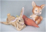 Click here to enlarge image and see more about item a03352: Two Unmatched Rabbit & a Carrot Salt Shakers