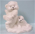 Click here to enlarge image and see more about item a03449: China Polar Bear & Seal Figurine