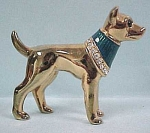 Click here to enlarge image and see more about item a03500: Miniature Golden Dog With Rhinestones