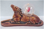 Click to view larger image of 1930s Japan Pottery Elk With Glass Ball (Image1)