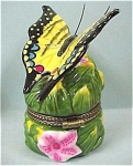 Click here to enlarge image and see more about item a03622: Trinket Box, Yellow Butterfly