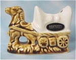 Click here to enlarge image and see more about item a04181: 1980s Ceramic Horse and Wagon Toothpick Holder