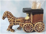 Click here to enlarge image and see more about item a04182: Ceramic Horse And Buggy Toothpick Holder