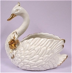 Ceramic White Swan Planter