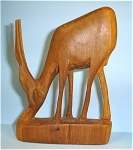Carved Wood Grazing Gazelle