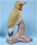 Miniature Bone China Royal Crown Bird, Green Woodpecker