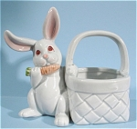 Click here to enlarge image and see more about item a04668: Fitz and Floyd 1978 Rabbit with Basket