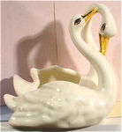 Click here to enlarge image and see more about item a04742: Camark Pottery Double Swan Planter