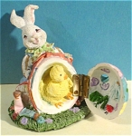 Click here to enlarge image and see more about item a04797: Resin Easter Bunny Rabbit with Opening Egg