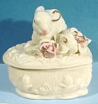 Click here to enlarge image and see more about item a04815: Porcelain Rabbit Family Trinket Box