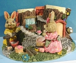Click here to enlarge image and see more about item a04832: Bunny Rabbit Wash Day Figurine