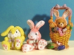 Click here to enlarge image and see more about item a04833: Teddy Bear in Bunny Suit and 2 Easter Rabbits