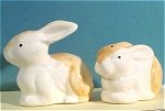 Click here to enlarge image and see more about item a04855: 1980s Ceramic Rabbit Salt and Pepper Shaker Set