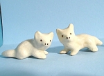 1930s/1940s Miniature Pottery Fox Kit Pair