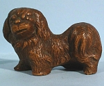 Click here to enlarge image and see more about item a05377: 1930s Miniature Wood Composite Pekingese Dog
