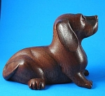 Carved Wood Dachshund Puppy