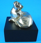 Click here to enlarge image and see more about item a05623m: Silver Plated Cat Sculpture on Base