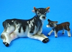 Miniature Bone China Japan Lying Cow and Calf