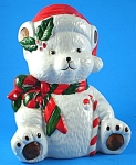 Click here to enlarge image and see more about item a05763: Ron Gordon Designs Ceramic Christmas Polar Bear Bank