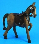 Carved Wood Horse with Leather Tack