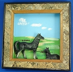 Click to view larger image of Enesco Ceramic Horse Pair on Wood Wall Hanger (Image1)
