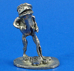 Click to view larger image of Miniature Pewter Golfer Frog with Crystal Golf Ball (Image1)