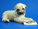 Click here to enlarge image and see more about item a06119: Franklin Mint Porcelain Shar-pei Dog Figurine