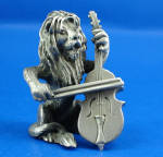 Click here to enlarge image and see more about item a06275: Hudson Pewter Miniature Lion Playing a Bass