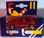 Click here to enlarge image and see more about item d00592: 1980s Corgi Jr. Burgundy 4-Door