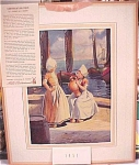 1951 Mills Restaurant Print Dutch Girls Calendar