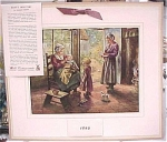 Click here to enlarge image and see more about item e00087: 1946 Mills Restaurant Print Family Scene Calendar