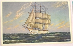 Click here to enlarge image and see more about item e00152: Three Masted Sailboat Painting Postcard