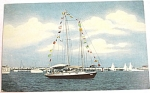 Click here to enlarge image and see more about item e00154: 1954 Gulfport Mississippi Sailboat Postcard