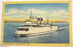 Click here to enlarge image and see more about item e00156: 1953 Petoskey Michigan State Ferry Postcard