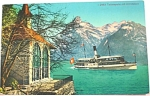 Click here to enlarge image and see more about item e00157: 1938 Sweden Boat on a River Postcard
