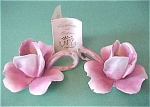 Click here to enlarge image and see more about item f00030: Capo di Monte Rose Candle Holder Pair