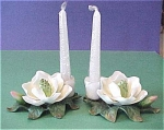 Porcelain White Flower Candle Holder Pair