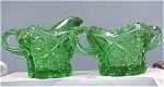 Click here to enlarge image and see more about item g00136: Green Glass Cream & Sugar Set