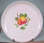 Click here to enlarge image and see more about item g00256: Milk Glass Plates - Painted Fruit