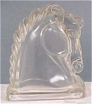 Click here to enlarge image and see more about item g00354: Pair of Glass Horse Head Bookends